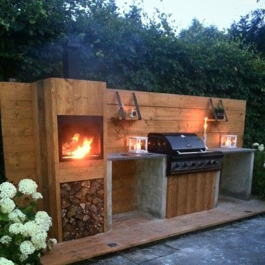BBQ and fireplace area in one place