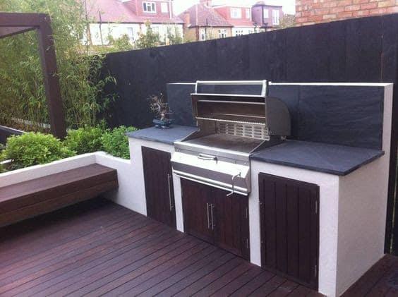 White and dark wood classy BBQ area