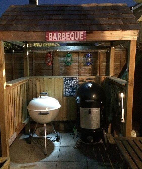 BBQ shack and bench with grill and smoker