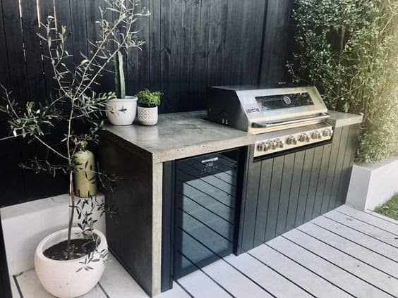 Outdoor modern BBQ in on deck