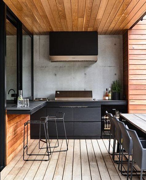 Modern wooden BBQ area