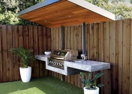 A garden BBQ area made with modern, freestanding aerial marble design