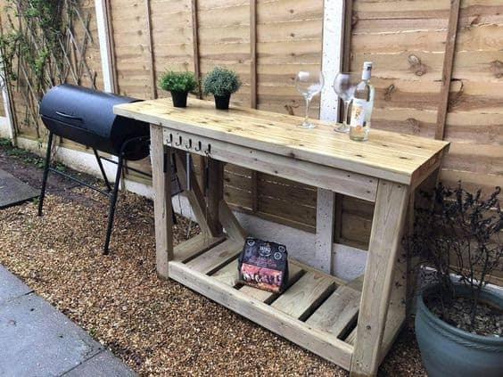 Simple wooden table for BBQ