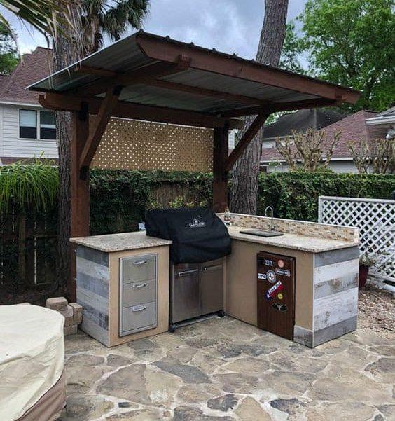 Small corner BBQ area
