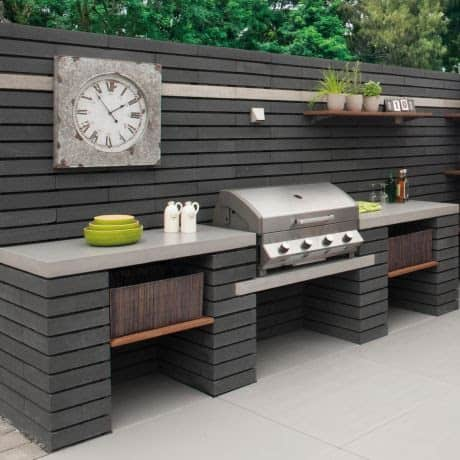 Modern spectacular BBQ area in grey