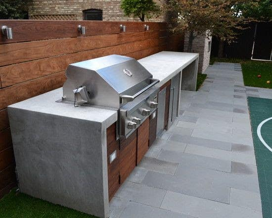 Concrete and wood simple BBQ area
