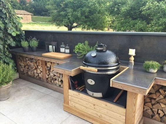 Beautiful wooden BBQ area