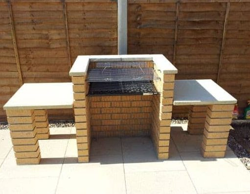 DIY brick BBQ with tables