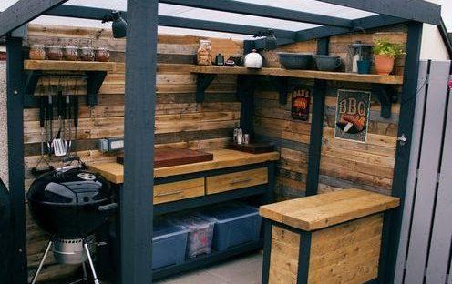 Cute, compact outdoor cedar mini kitchen