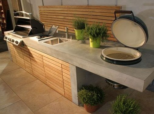 Concrete cooking station with a modern finish