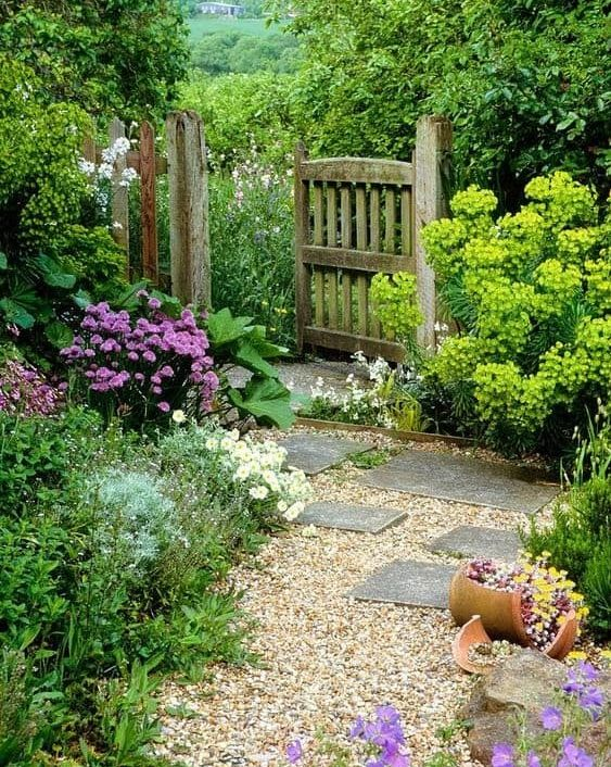 Garden backdoor with gravel, and colourful flowers