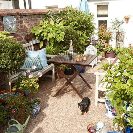 Tiny cottage garden with a cosy, relaxing spot