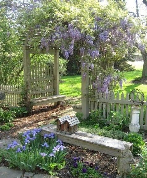 A wooden picket fence entrance with climbing flowers
