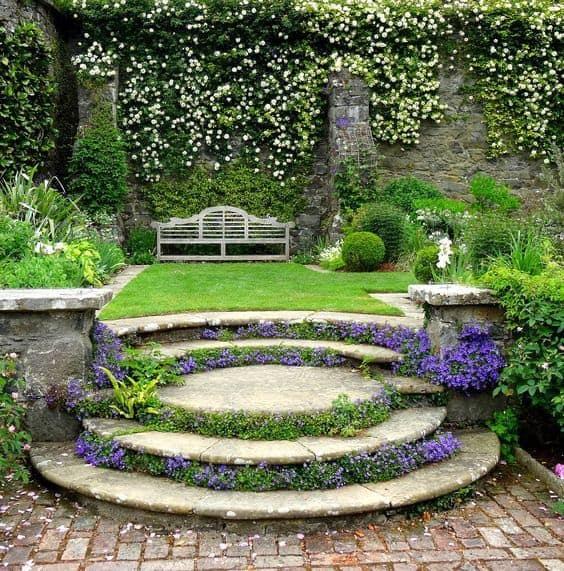 Unique circular stone steps and grass