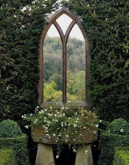 Garden with a vintage style window