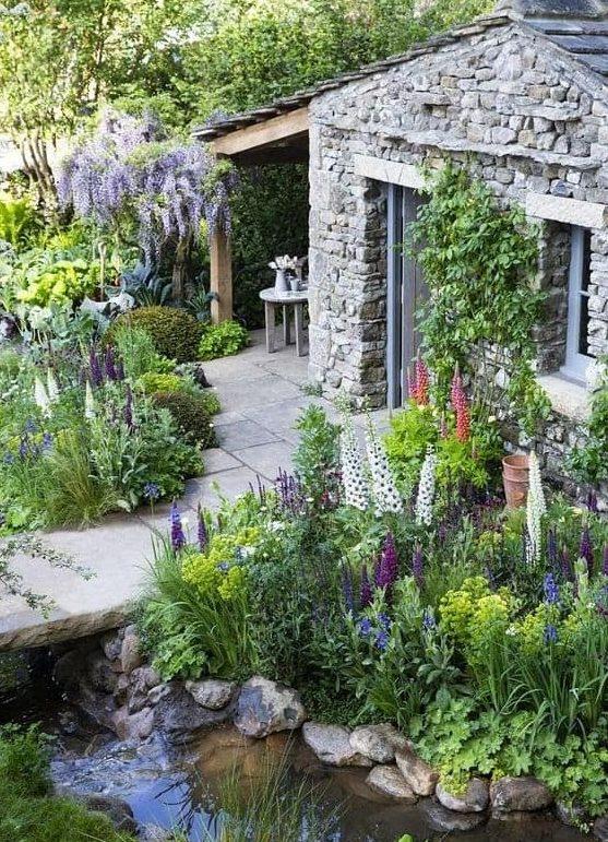 Garden pond and stone bridge