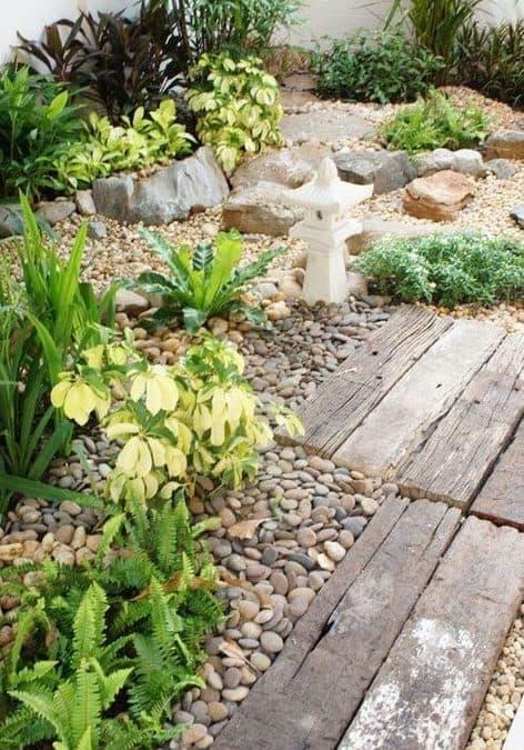 Pebble and wood garden landscape