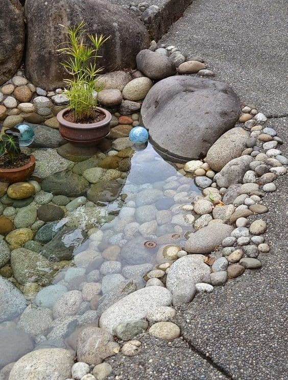 Small garden pond with pebbles and stones