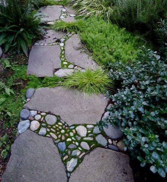Appealing stone and pebble garden path