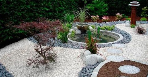 Beautiful pebble garden with pond