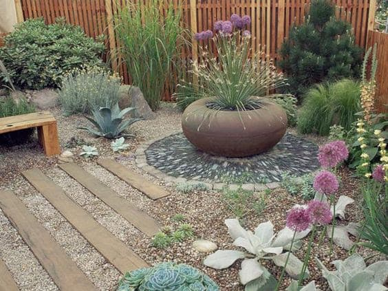 Pebble and gravel corner