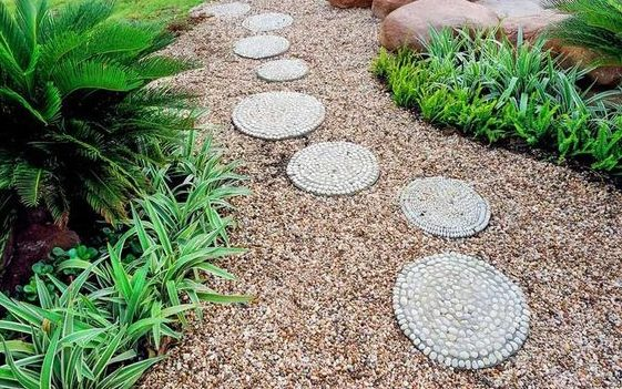 Stepping stones made from small pebbles