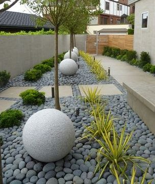 Simple grey pebbles with large stone spheres in a modern garden