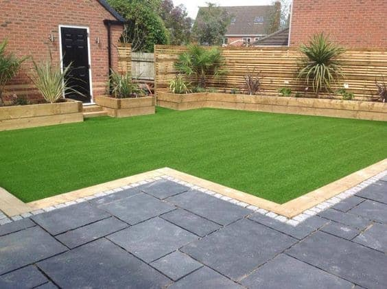 Open garden with artificial grass