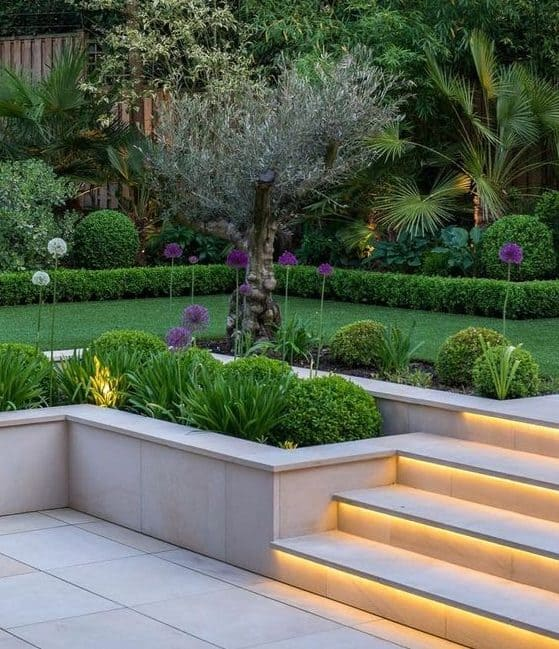 Two-level modern garden with lights