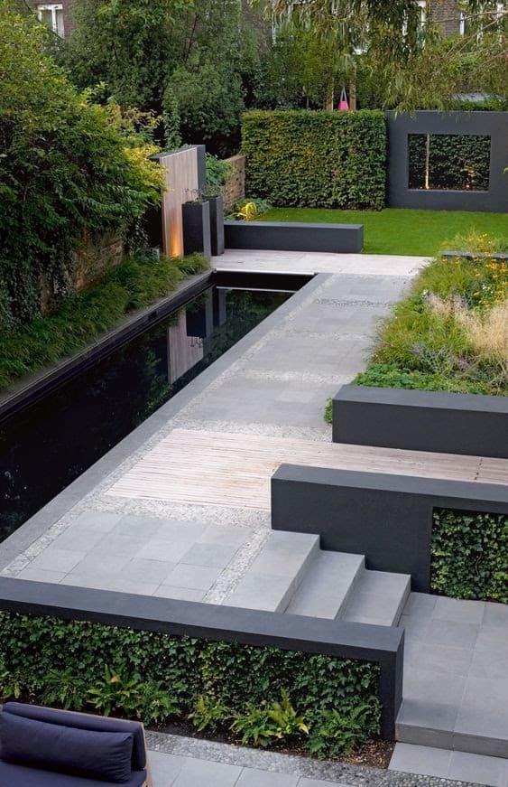 Modern garden with rectangular pond