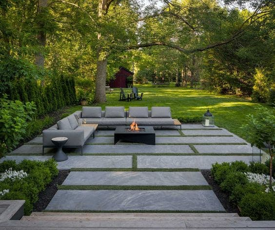 Stone flooring and fire table