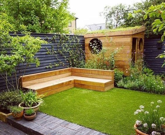 Classy corner shed and bench