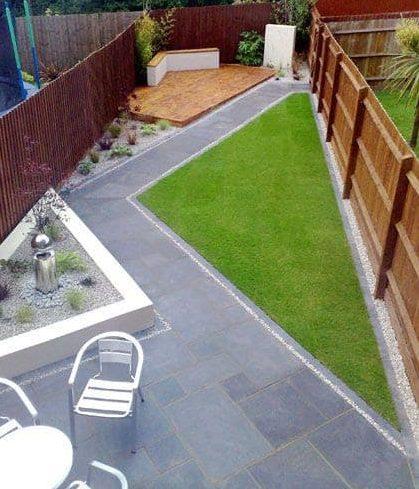 Diagonal lines perfect for a long narrow garden