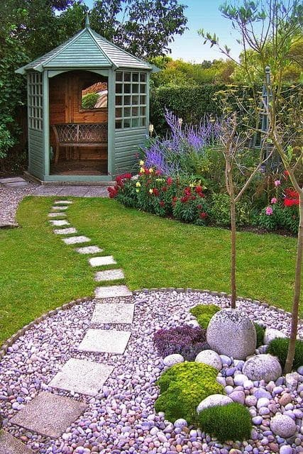 Small cabin with bright stepping stones