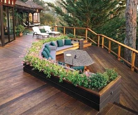 Planter boxes with seating
