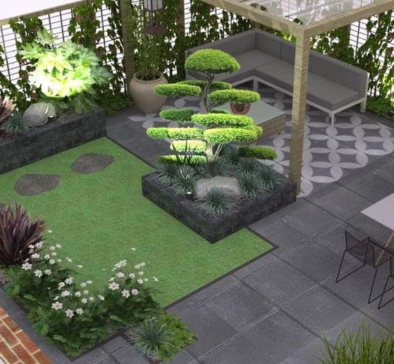 Well-trimmed trees and bushes and simple, modern furniture in a zen garden
