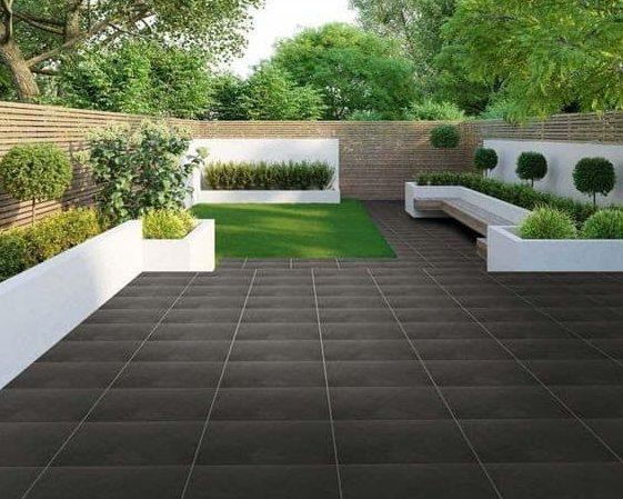 Black porcelain outdoor tiles