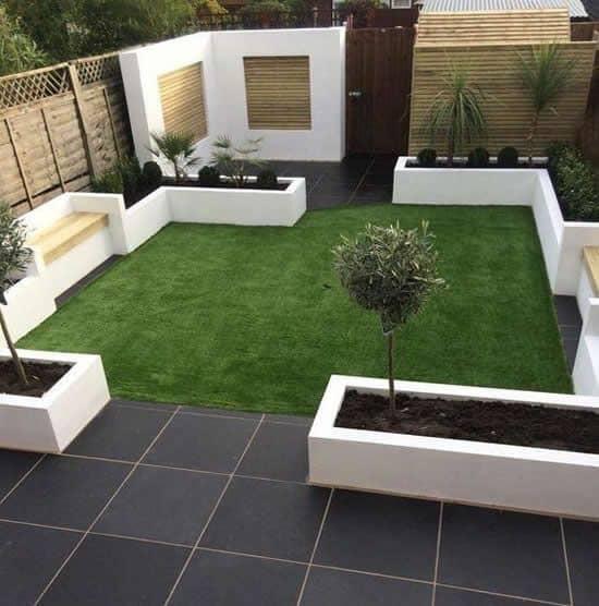 Black porcelain and white garden beds