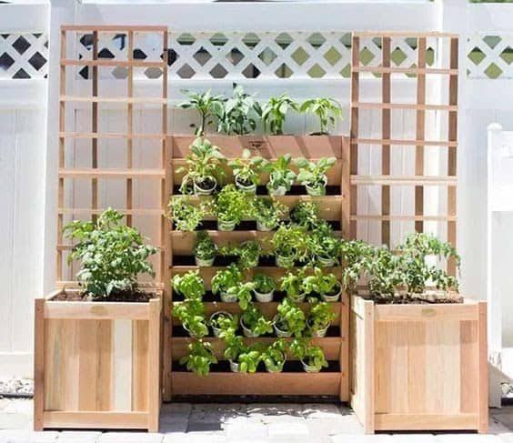Wooden garden structure for a vertical herb garden