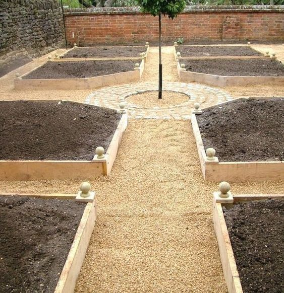 Raised sections for a vegetable garden in a formal style backyard