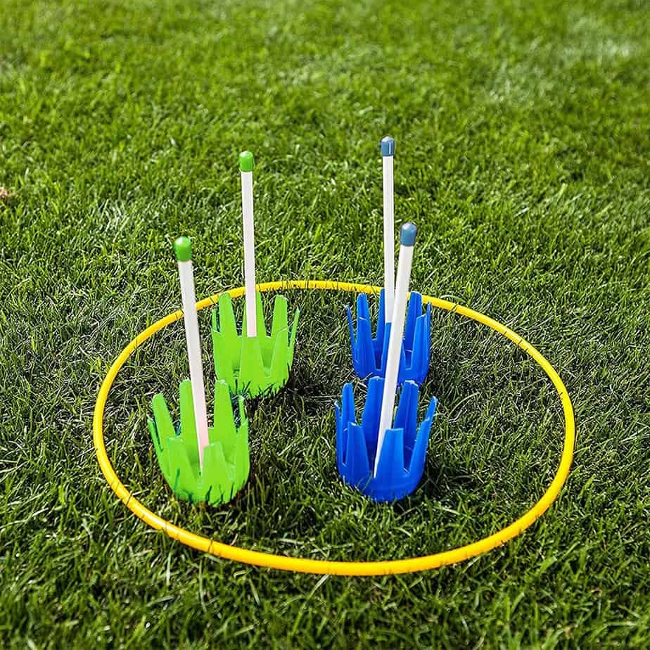 Lawn darts with a target hoop
