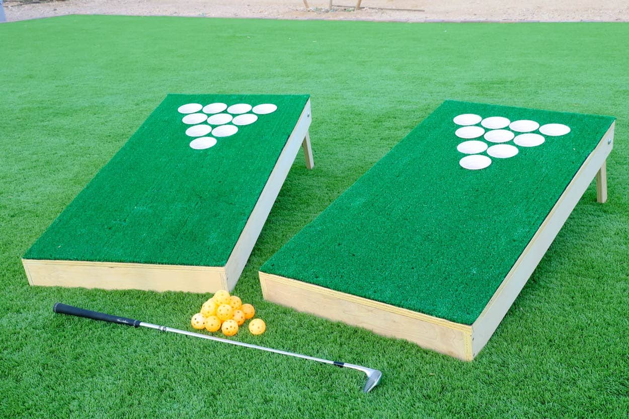 DIY pong golf placed on the garden lawn