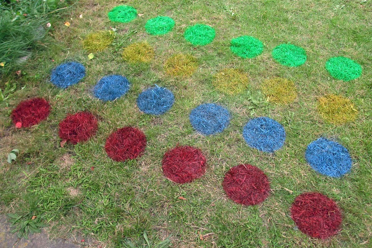 A garden lawn with circle paints on for a lawn twister game