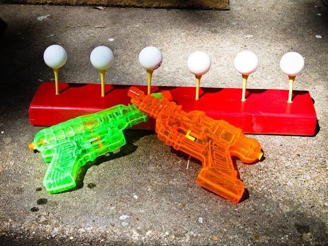 Water gun ping pong game setup
