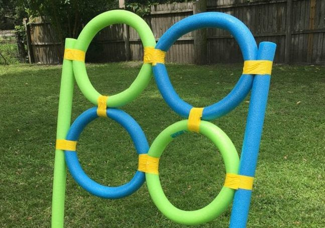 Blue and green pool noodle targets