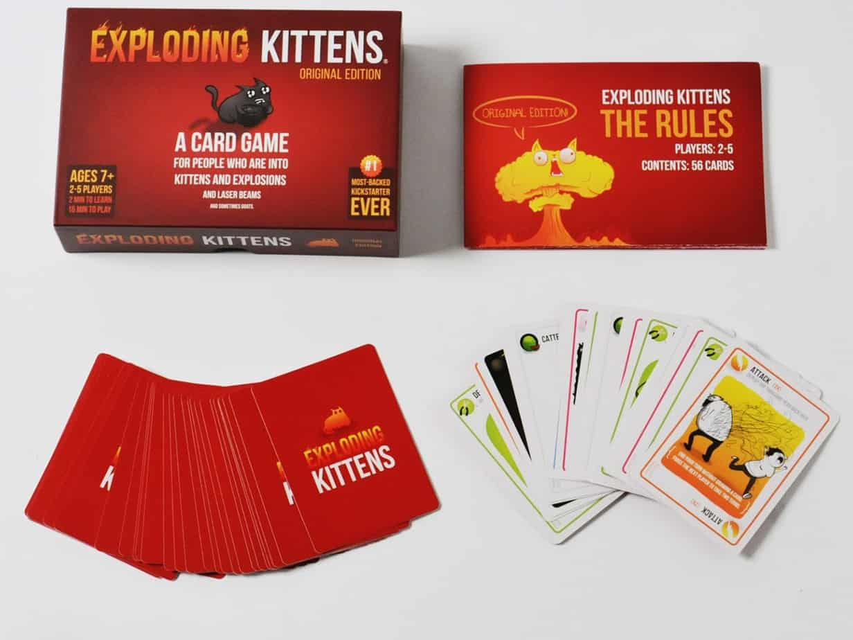 A box of exploding kittens card