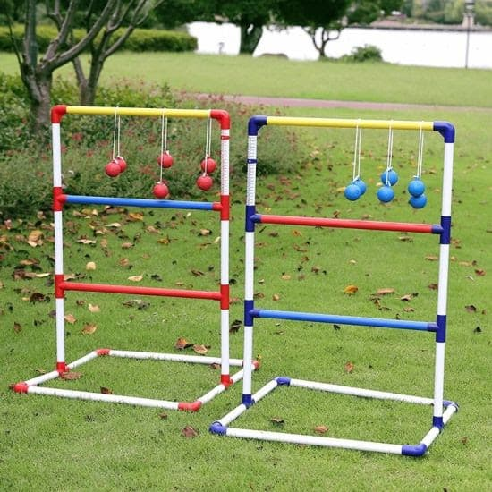 DIY ladder golf toss made with some plastic pipes, string and plastic balls