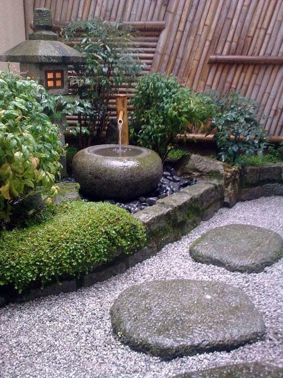 Oriental corner garden with a small fountain
