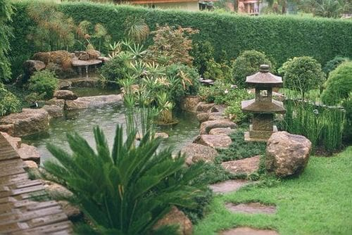 A natural-looking pond edged with rocks and surrounded by Chinese plants and decorations