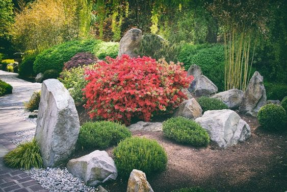 Bush and rock garden as the key elements in this Chinese garden